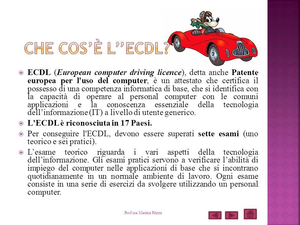 ECDL (European computer driving licence), detta anche Patente europea per l'uso del computer, è un attestato che certifica il possesso di una competen