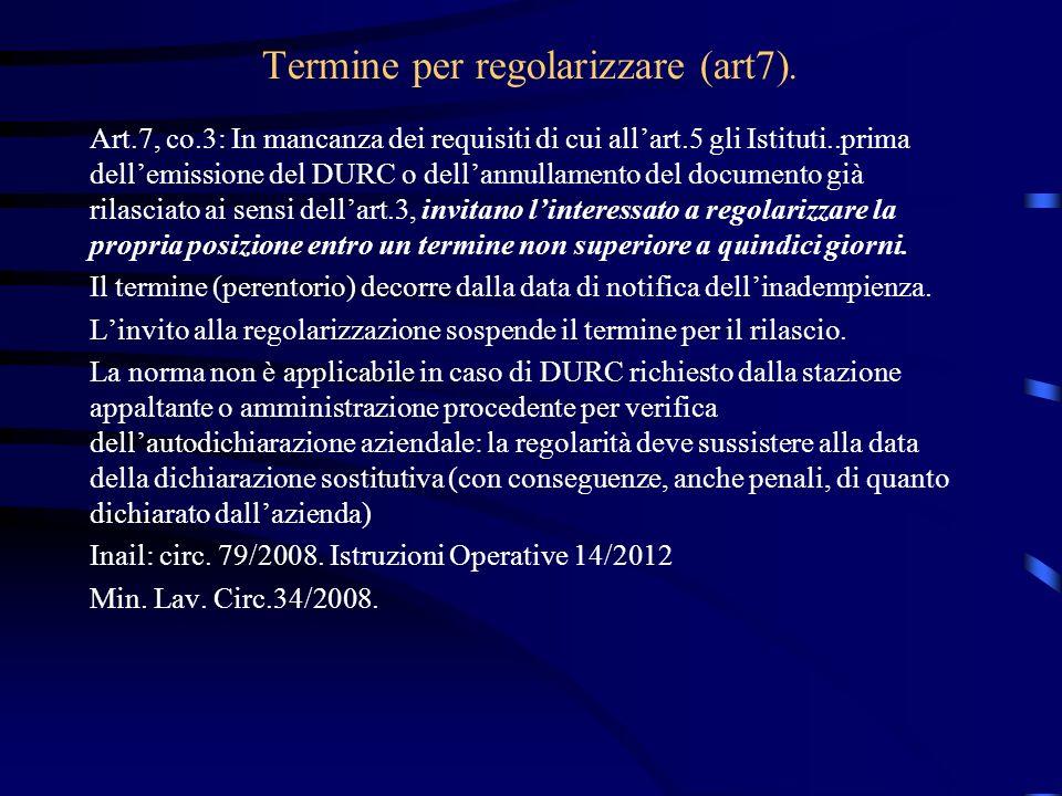 Termine per regolarizzare (art7).