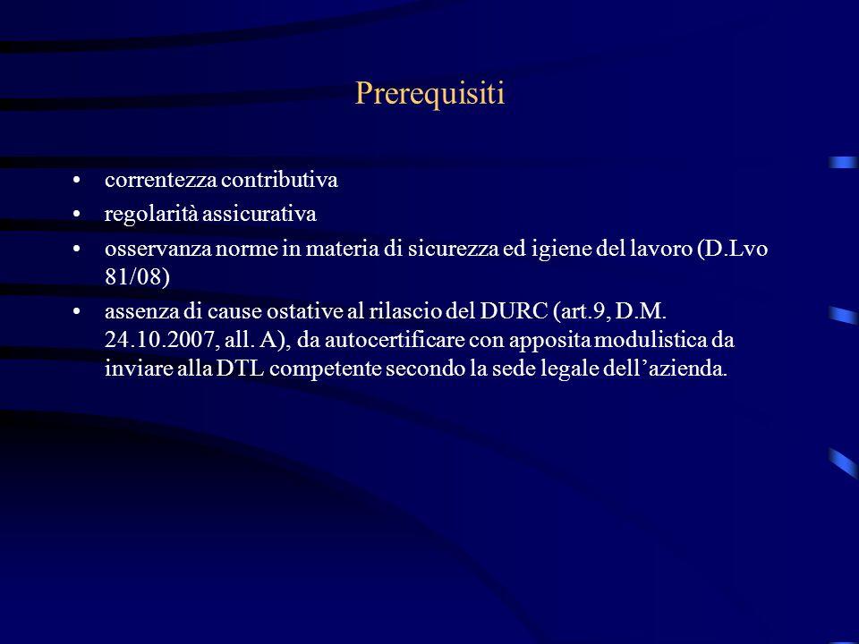 Prerequisiti correntezza contributiva regolarità assicurativa osservanza norme in materia di sicurezza ed igiene del lavoro (D.Lvo 81/08) assenza di cause ostative al rilascio del DURC (art.9, D.M.