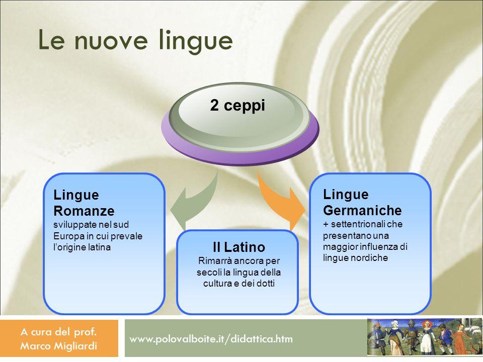 www.polovalboite.it/didattica.htm A cura del prof. Marco Migliardi Le nuove lingue Lingue Germaniche + settentrionali che presentano una maggior influ