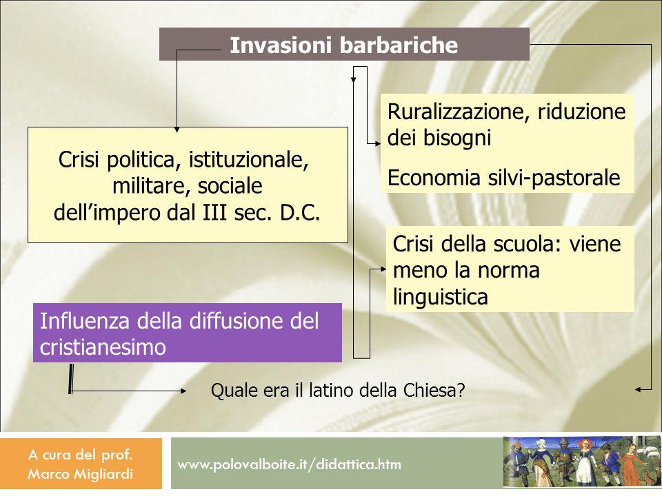www.polovalboite.it/didattica.htm A cura del prof. Marco Migliardi Crisi politica, istituzionale, militare, sociale dellimpero dal III sec. D.C. Influ