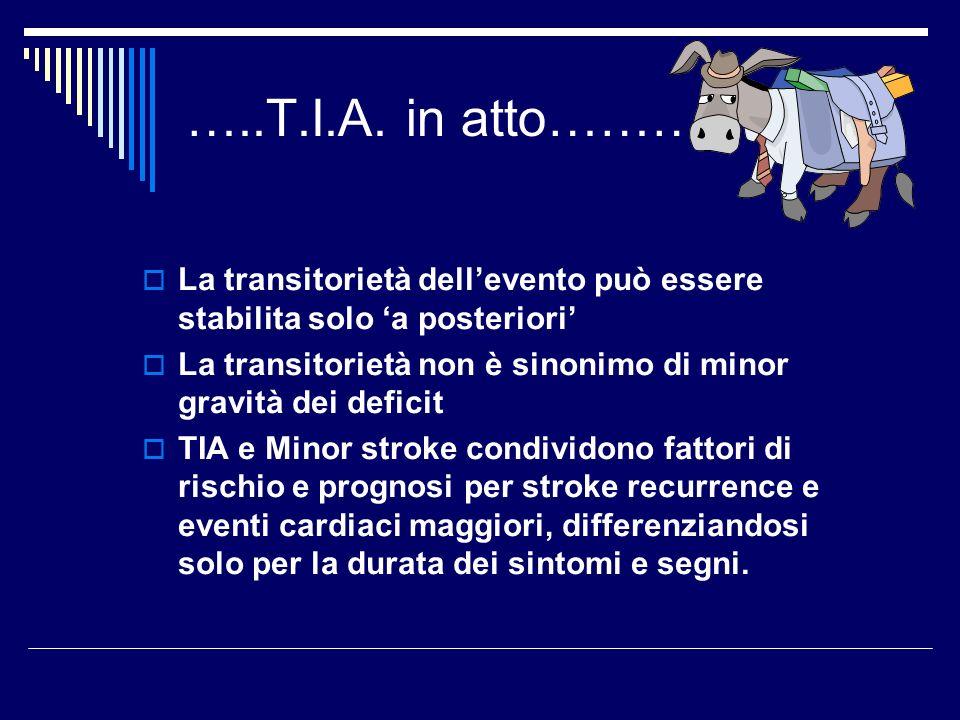 …..T.I.A. in atto……… La transitorietà dellevento può essere stabilita solo a posteriori La transitorietà non è sinonimo di minor gravità dei deficit T
