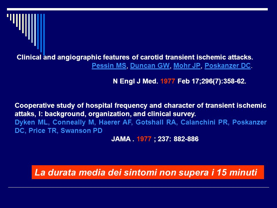 Clinical and angiographic features of carotid transient ischemic attacks. Pessin MS, Duncan GW, Mohr JP, Poskanzer DC.Pessin MSDuncan GWMohr JPPoskanz