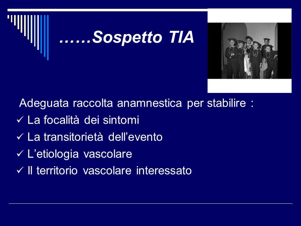 Sintomi non accettabili per la diagnosi di T.I.A.(G.
