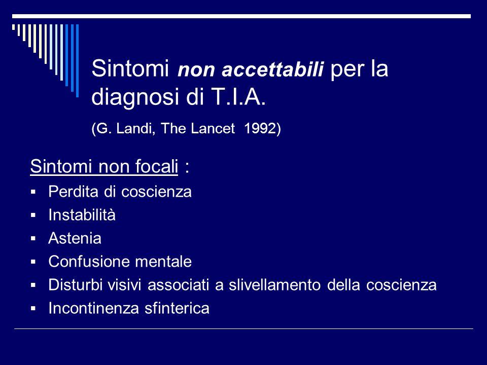 Sintomi non accettabili per la diagnosi di T.I.A. (G. Landi, The Lancet 1992) Sintomi non focali : Perdita di coscienza Instabilità Astenia Confusione