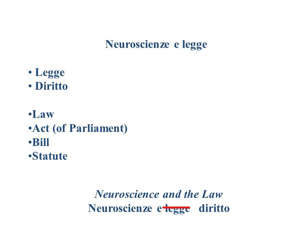 Diritto e neuroscienze Neuroscienze Neuroscience (EN) è = a Neuroscienze (IT) .