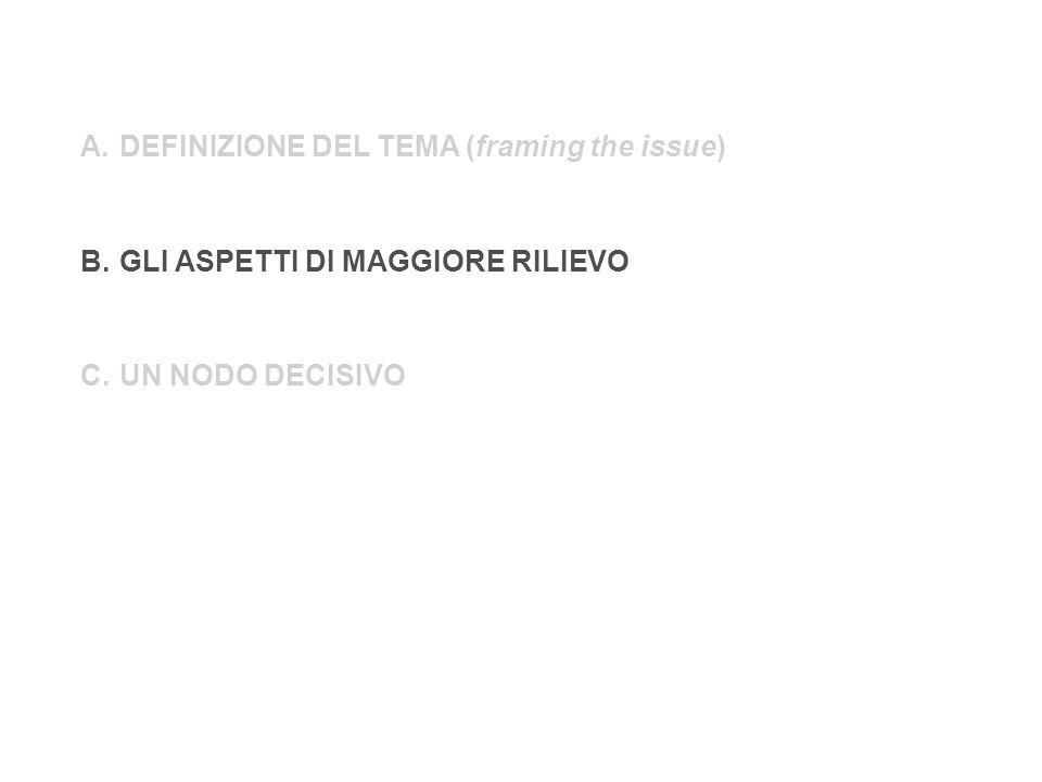 A.DEFINIZIONE DEL TEMA (framing the issue) B.GLI ASPETTI DI MAGGIORE RILIEVO C.UN NODO DECISIVO