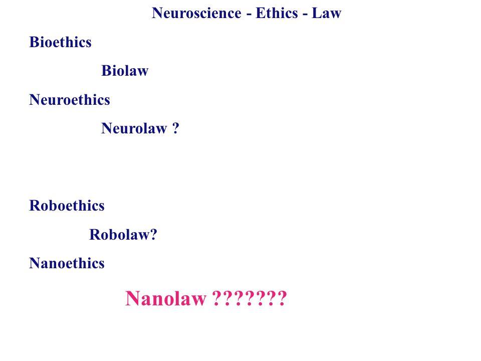 Neuroscience - Ethics - Law Bioethics Biolaw Neuroethics Neurolaw ? Roboethics Robolaw? Nanoethics Nanolaw ???????