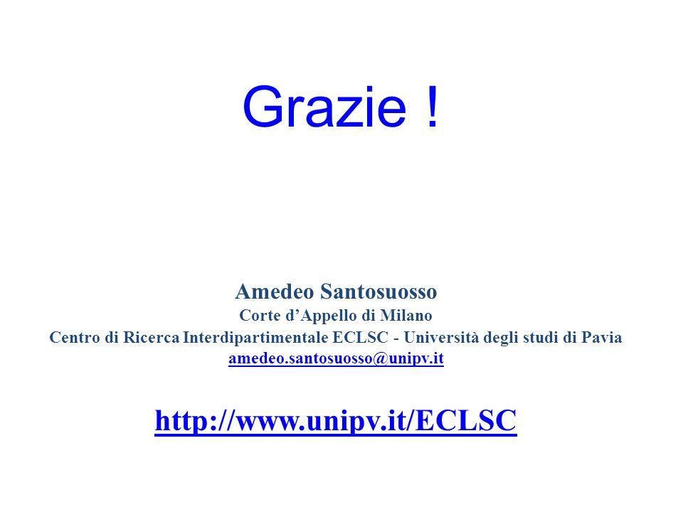 Amedeo Santosuosso Corte dAppello di Milano Centro di Ricerca Interdipartimentale ECLSC - Università degli studi di Pavia amedeo.santosuosso@unipv.it http://www.unipv.it/ECLSC Grazie !