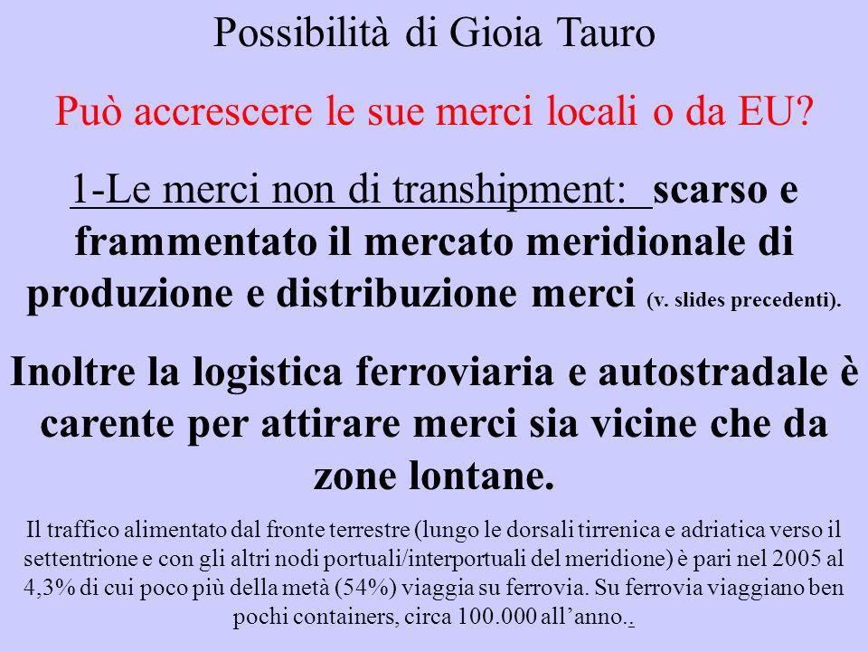Possibilità di Gioia Tauro Può accrescere le sue merci locali o da EU.