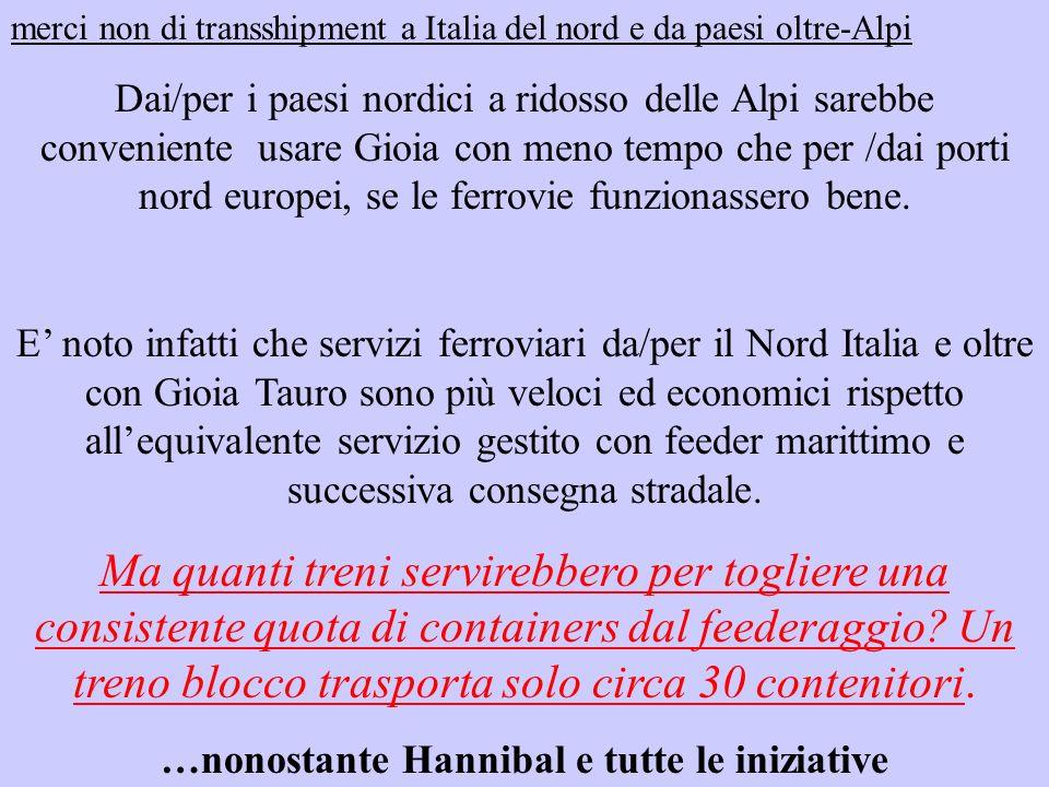 merci non di transshipment a Italia del nord e da paesi oltre-Alpi Dai/per i paesi nordici a ridosso delle Alpi sarebbe conveniente usare Gioia con meno tempo che per /dai porti nord europei, se le ferrovie funzionassero bene.