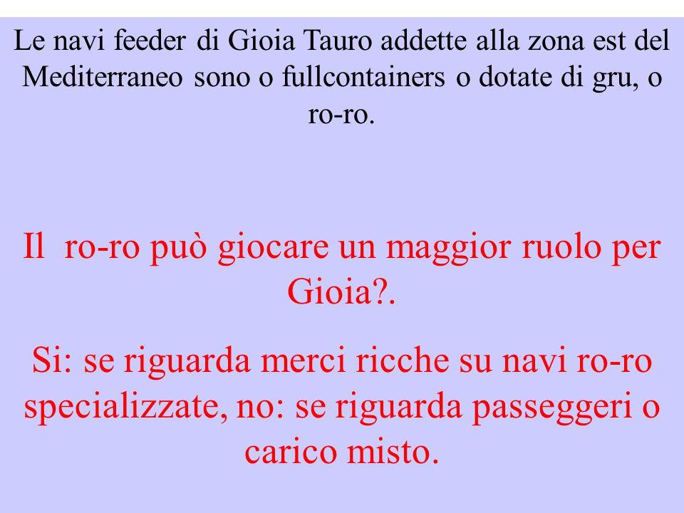 Le navi feeder di Gioia Tauro addette alla zona est del Mediterraneo sono o fullcontainers o dotate di gru, o ro-ro.