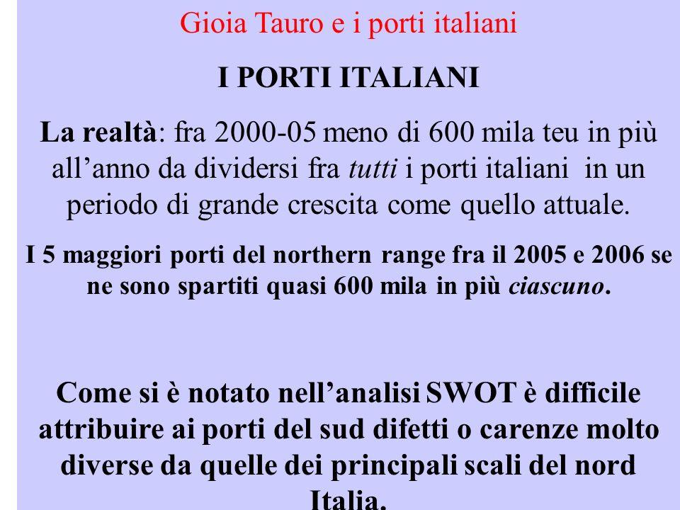 Gioia Tauro e i porti italiani I PORTI ITALIANI La realtà: fra 2000-05 meno di 600 mila teu in più allanno da dividersi fra tutti i porti italiani in un periodo di grande crescita come quello attuale.