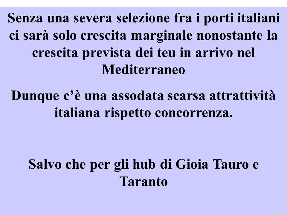 Senza una severa selezione fra i porti italiani ci sarà solo crescita marginale nonostante la crescita prevista dei teu in arrivo nel Mediterraneo Dunque cè una assodata scarsa attrattività italiana rispetto concorrenza.
