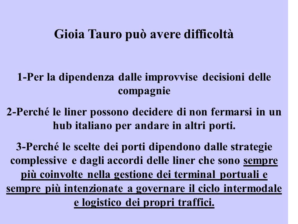 Gioia Tauro può avere difficoltà 1-Per la dipendenza dalle improvvise decisioni delle compagnie 2-Perché le liner possono decidere di non fermarsi in un hub italiano per andare in altri porti.