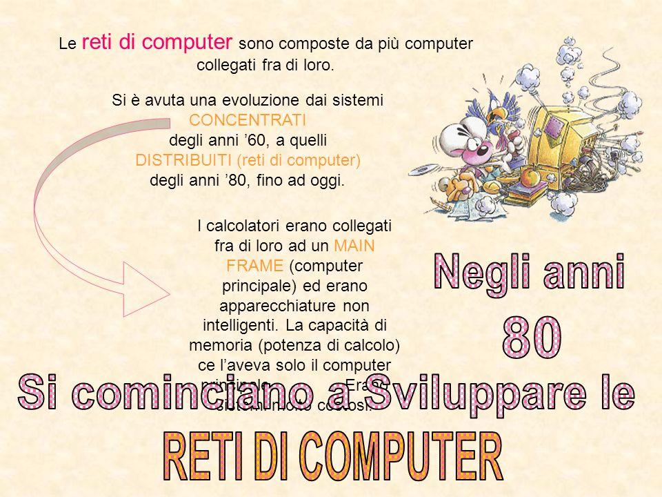 Le reti di computer sono composte da più computer collegati fra di loro. Si è avuta una evoluzione dai sistemi CONCENTRATI degli anni 60, a quelli DIS