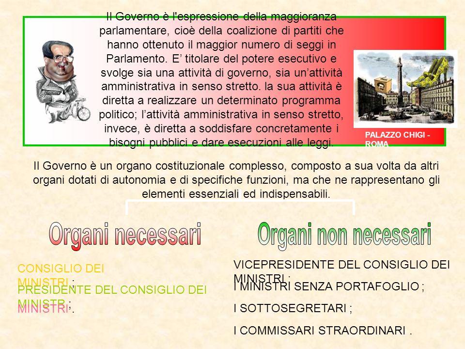 Il Governo è un organo costituzionale complesso, composto a sua volta da altri organi dotati di autonomia e di specifiche funzioni, ma che ne rapprese