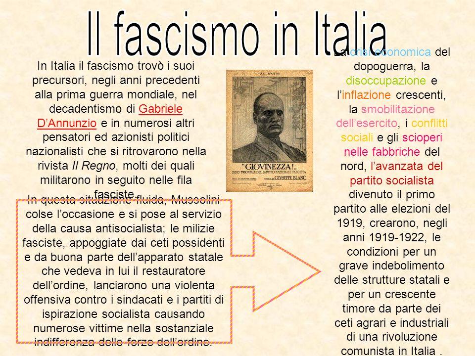 In Italia il fascismo trovò i suoi precursori, negli anni precedenti alla prima guerra mondiale, nel decadentismo di Gabriele DAnnunzio e in numerosi