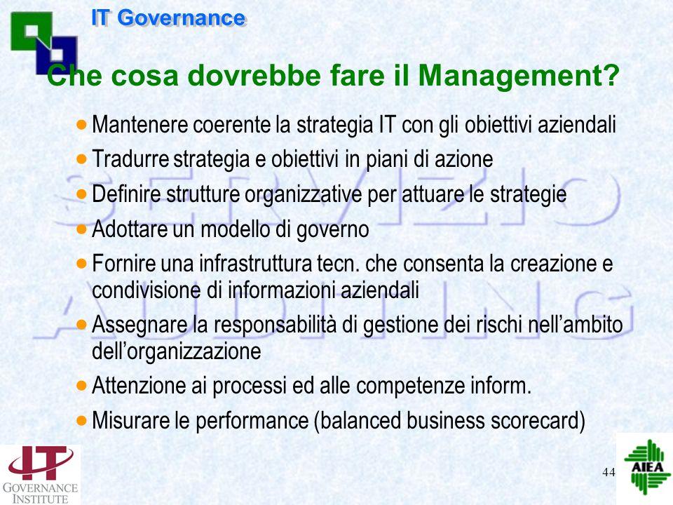43 Cosa dovrebbe fare il CdA ? Cogliere le indicazioni del mercato Adottare un modello per lT governance Fare le giuste domande Focalizzarsi sui segue