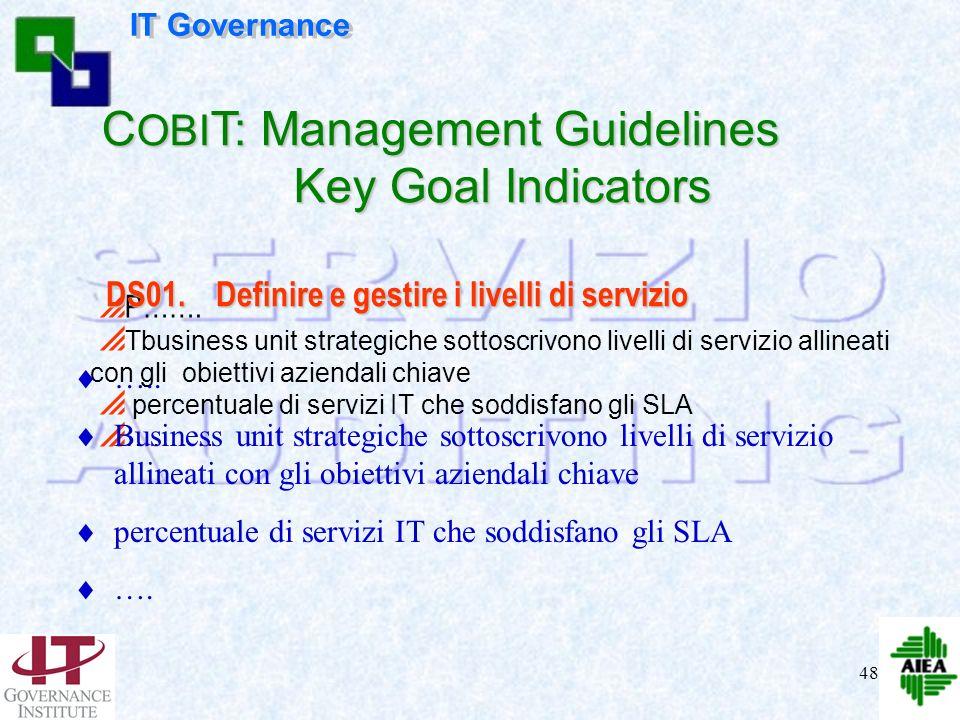 47 P……. TI livelli di servizio sono espressi in termini appropriati/comprensibili per lazienda e per lutente finale TI livelli di servizio debbono tro