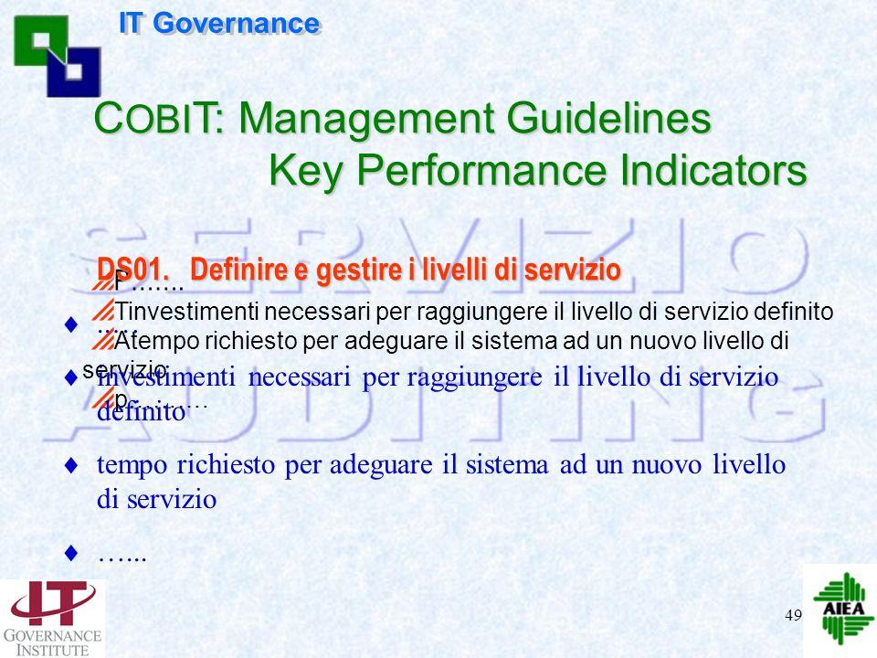 48 P……. Tbusiness unit strategiche sottoscrivono livelli di servizio allineati con gli obiettivi aziendali chiave percentuale di servizi IT che soddis