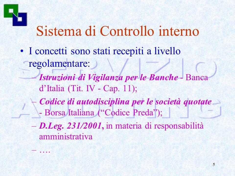 4 Sistema di Controllo interno Ha trovato piena definizione nellultimo decennio: –Internal Control - Integrated Framework - 1992 - COSO - Committee of