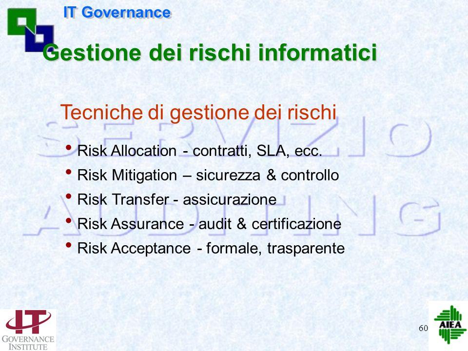 59 Il CdA/lAlta Direzione relativamente ai rischi aziendali: 4garantisce visibilità sui rischi significativi dellorganizzazione 4è consapevole che la