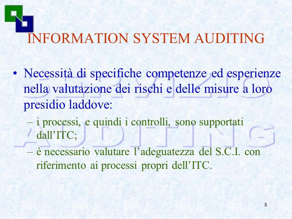 7 INTERNAL AUDITING Lattività di Internal Auditing: –verifica e valutazione delladeguatezza e dellefficacia del sistema di controllo interno dellorgan
