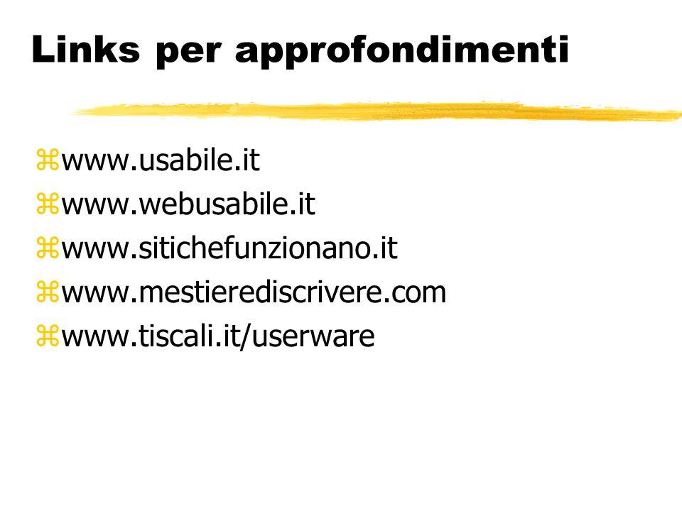 Links per approfondimenti www.usabile.it www.webusabile.it www.sitichefunzionano.it www.mestierediscrivere.com www.tiscali.it/userware