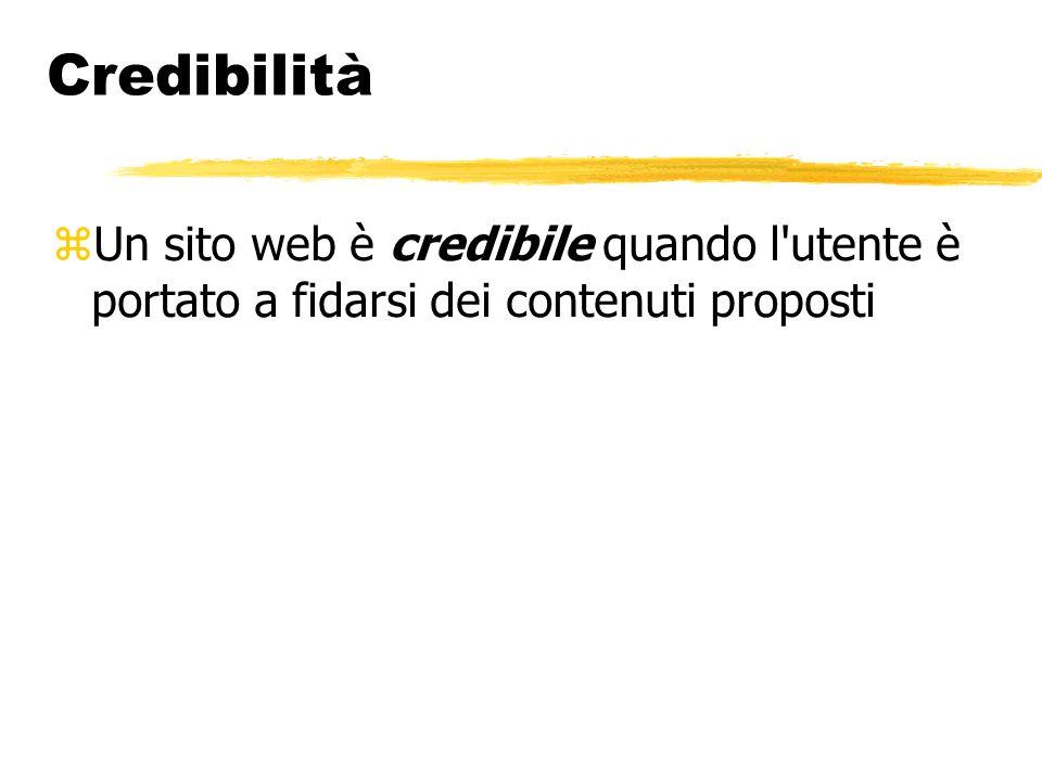 Credibilità Un sito web è credibile quando l'utente è portato a fidarsi dei contenuti proposti