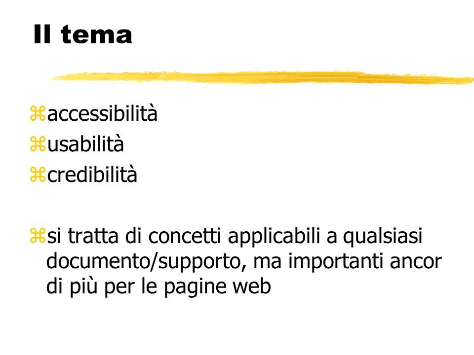 accessibilità usabilità credibilità si tratta di concetti applicabili a qualsiasi documento/supporto, ma importanti ancor di più per le pagine web Il