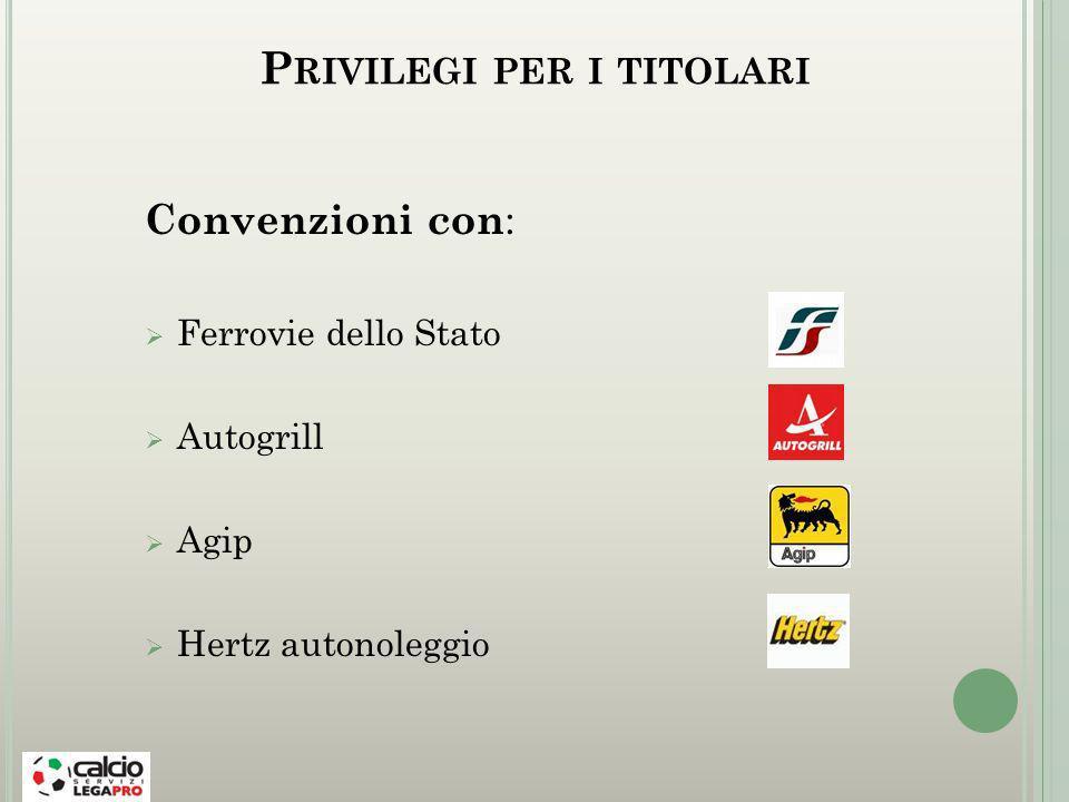 P RIVILEGI PER I TITOLARI Convenzioni con : Ferrovie dello Stato Autogrill Agip Hertz autonoleggio