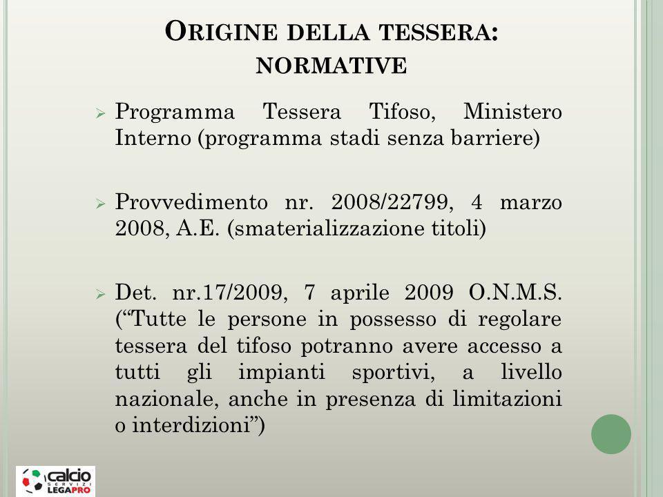 O RIGINE DELLA TESSERA : NORMATIVE Programma Tessera Tifoso, Ministero Interno (programma stadi senza barriere) Provvedimento nr.