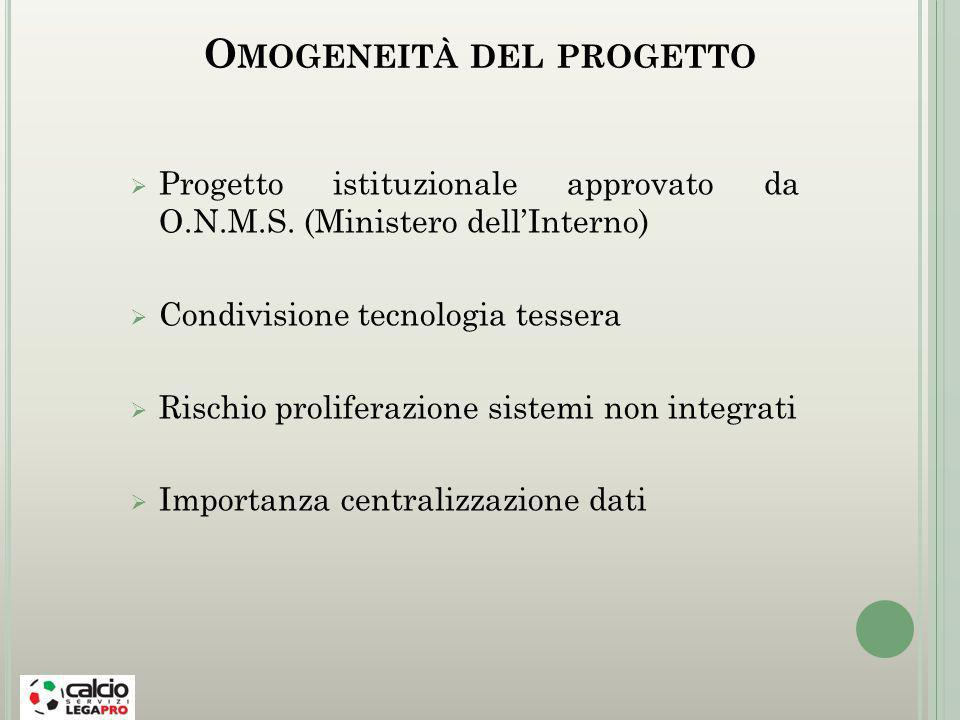 O MOGENEITÀ DEL PROGETTO Progetto istituzionale approvato da O.N.M.S.