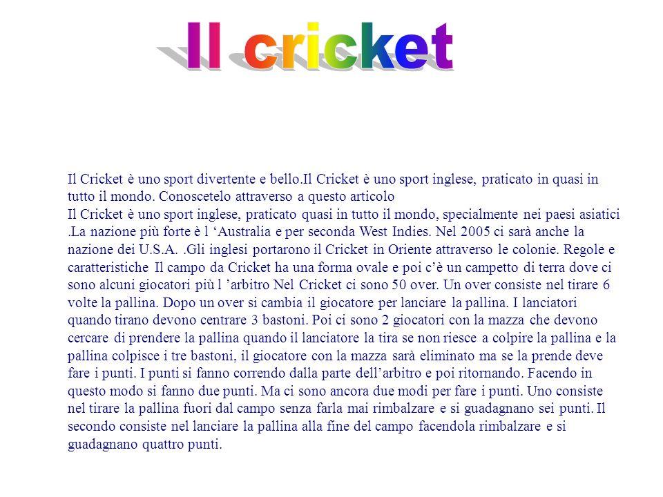 Il Cricket è uno sport divertente e bello.Il Cricket è uno sport inglese, praticato in quasi in tutto il mondo. Conoscetelo attraverso a questo artico