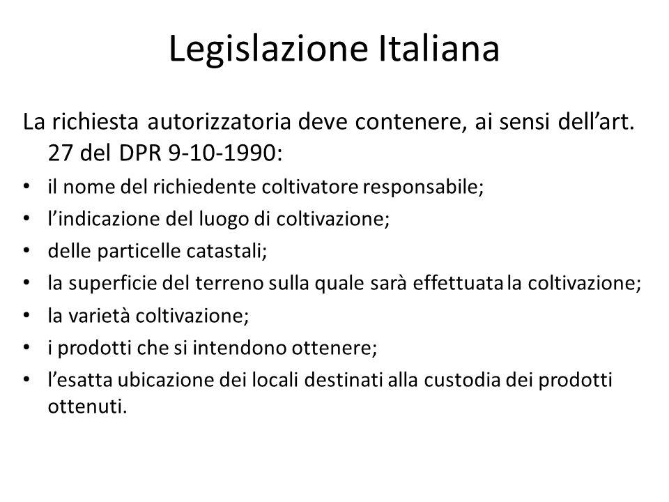 Legislazione Italiana La richiesta autorizzatoria deve contenere, ai sensi dellart. 27 del DPR 9-10-1990: il nome del richiedente coltivatore responsa