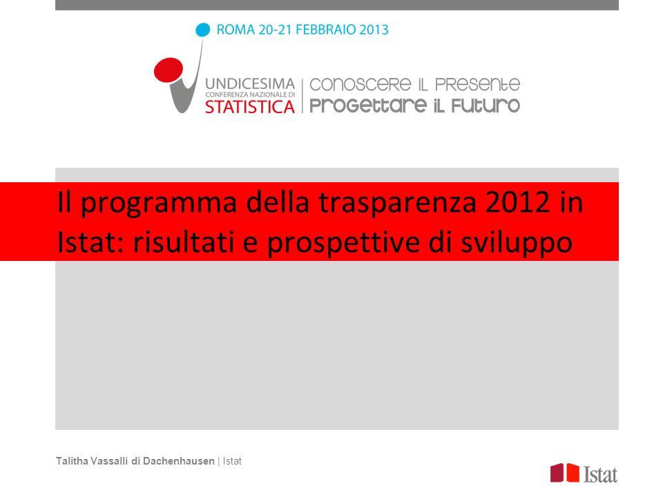 Il programma della trasparenza 2012 in Istat: risultati e prospettive di sviluppo Talitha Vassalli di Dachenhausen | Istat