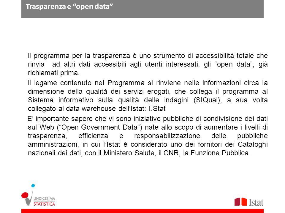 Trasparenza e open data Il programma per la trasparenza è uno strumento di accessibilità totale che rinvia ad altri dati accessibili agli utenti inter