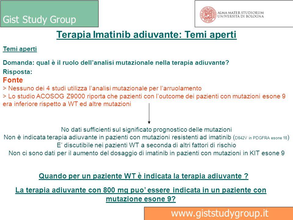 Gist Study Group Medici Ricerca www.giststudygroup.it Terapia Imatinib adiuvante: Temi aperti Temi aperti Domanda: qual è il ruolo dellanalisi mutazio
