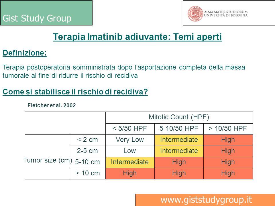 Gist Study Group Medici Ricerca www.giststudygroup.it Definizione: Terapia postoperatoria somministrata dopo lasportazione completa della massa tumora