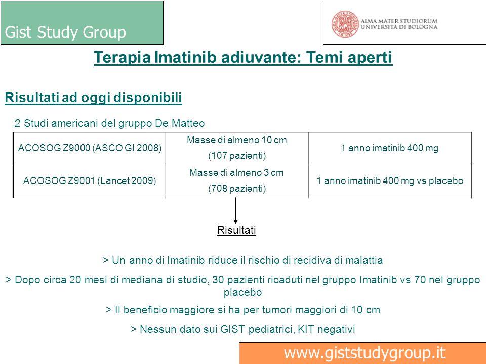 Gist Study Group Ricerca www.giststudygroup.it Terapia Imatinib adiuvante: Temi aperti Risultati ad oggi disponibili 2 Studi americani del gruppo De M