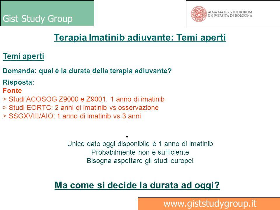 Gist Study Group Medici Ricerca www.giststudygroup.it Terapia Imatinib adiuvante: Temi aperti Temi aperti Domanda: qual è la durata della terapia adiu