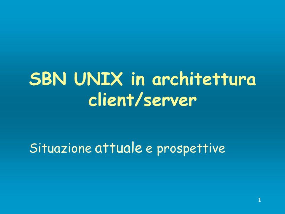 12 Evoluzione SBN UNIX c/s Adeguamento a nuovo Indice SBN: moduli per la catalogazione di altri materiali parametrizzazione della gestione bibliografica gestione dei file prodotti dalle operazioni di Import in Indice.