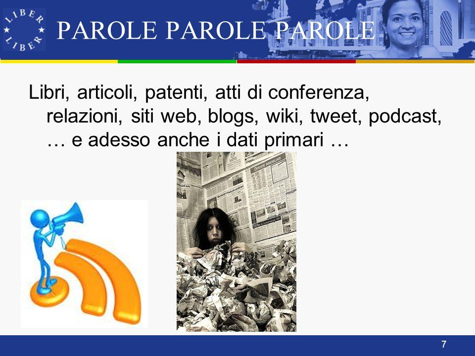7 PAROLE PAROLE PAROLE Libri, articoli, patenti, atti di conferenza, relazioni, siti web, blogs, wiki, tweet, podcast, … e adesso anche i dati primari …