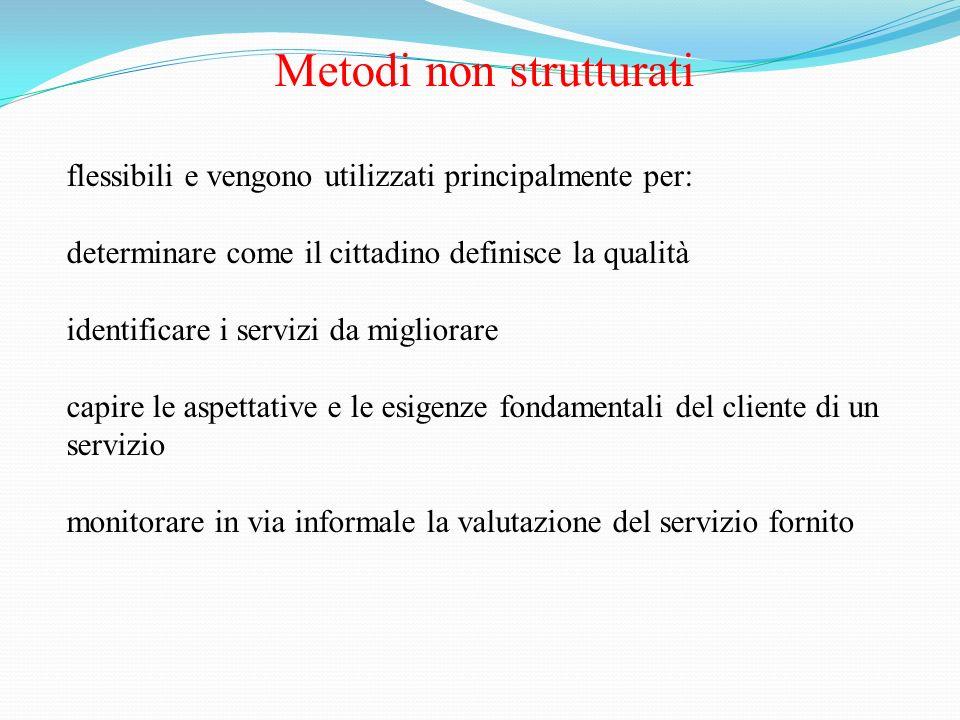 Metodi non strutturati flessibili e vengono utilizzati principalmente per: determinare come il cittadino definisce la qualità identificare i servizi d