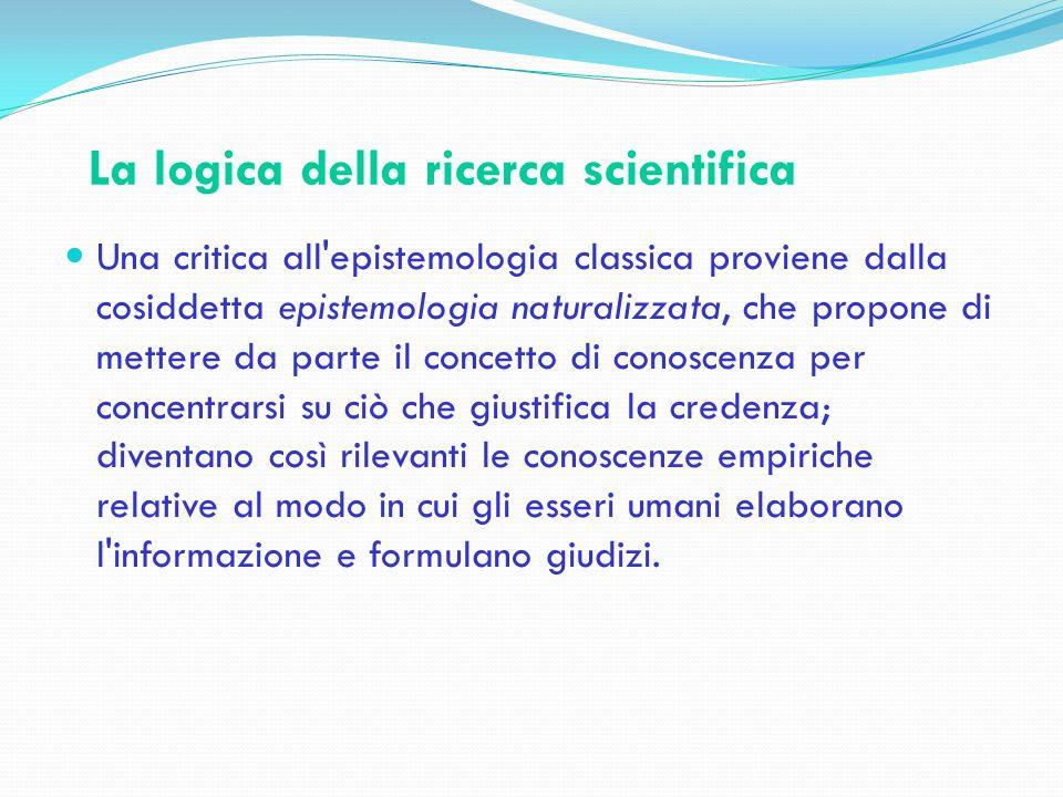 La logica della ricerca scientifica Una critica all'epistemologia classica proviene dalla cosiddetta epistemologia naturalizzata, che propone di mette