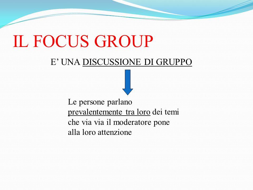 IL FOCUS GROUP E UNA DISCUSSIONE DI GRUPPO Le persone parlano prevalentemente tra loro dei temi che via via il moderatore pone alla loro attenzione