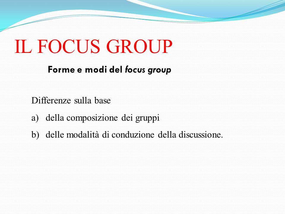 IL FOCUS GROUP Forme e modi del focus group Differenze sulla base a)della composizione dei gruppi b)delle modalità di conduzione della discussione.