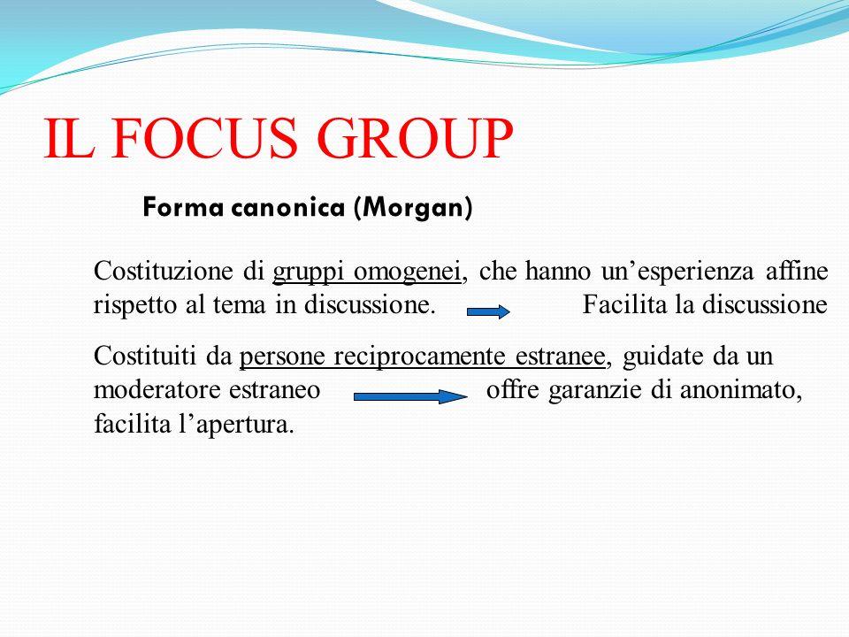 IL FOCUS GROUP Forma canonica (Morgan) Costituzione di gruppi omogenei, che hanno unesperienza affine rispetto al tema in discussione. Facilita la dis