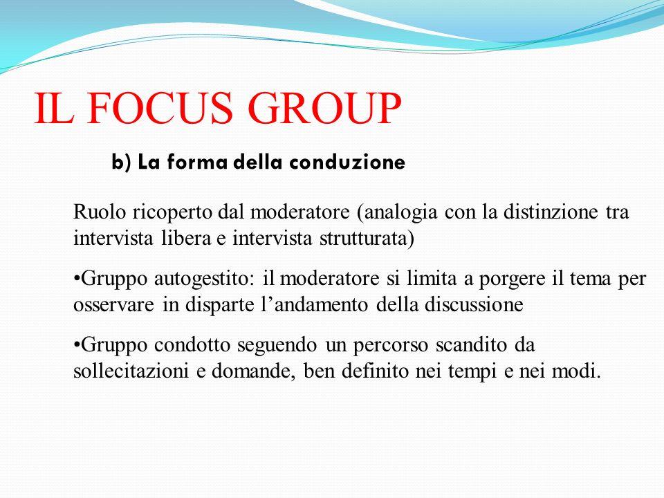 IL FOCUS GROUP b) La forma della conduzione Ruolo ricoperto dal moderatore (analogia con la distinzione tra intervista libera e intervista strutturata